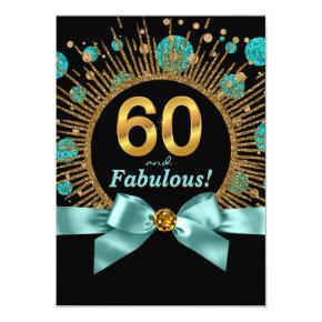 Womans 60th Birthday Teal Blue and Gold Invitation