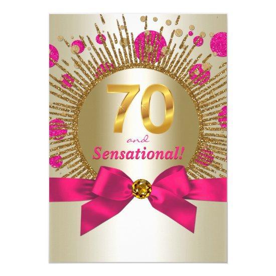 Womans 70th Birthday Party Fuchsia Gold Invitations