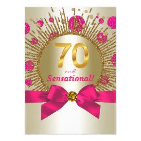 Womans 70th Birthday Party Fuchsia Gold Invitations