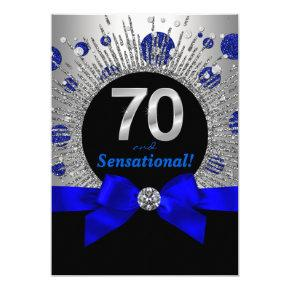 Womans 70th Birthday Party Royal Blue and Silver Invitations