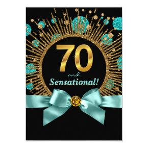 Womans 70th Birthday Party Teal Blue and Gold Invitation