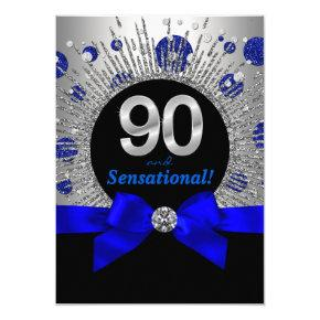 Womans 90th Birthday Party Royal Blue and Silver Invitation