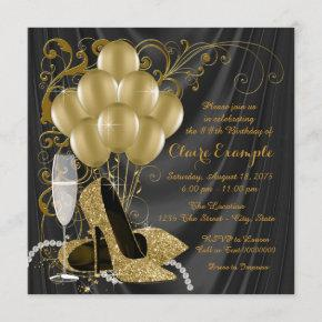 Womans Black and Gold Birthday Party
