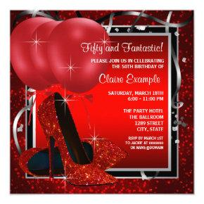 Womans Black and Red High Heels Birthday Party Invitations