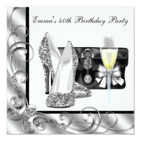 Womans Black and White 40th Birthday Party Invitation