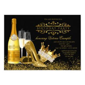 Womans Black Gold High Heels Princess Birthday Invitations
