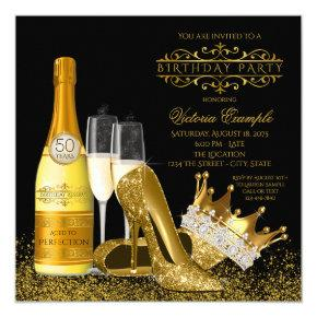 Womans Black Gold High Heels Princess Birthday Invitation