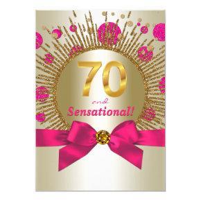 Womans Elegant 70th Birthday Party Fuchsia Gold Invitations