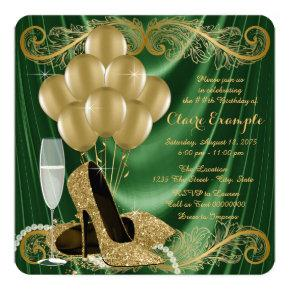 Womans Emerald Green and Gold Birthday Party Glam Invitation