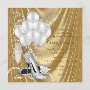 Womans Gold and Silver Birthday Party Luxe Invitation