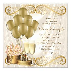 Womans Ivory and Gold Birthday Party Invitations