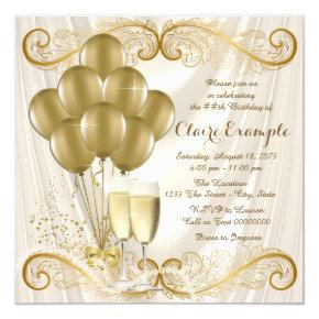 Womans Ivory Gold Birthday Party Champagne Glamour Invitation