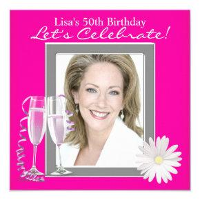 Womans Photo Hot Pink Birthday Party Card