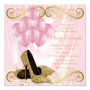 Womans Pink Gold Birthday Party