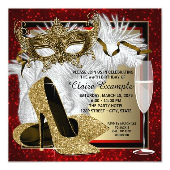 Womans Red and Gold Masquerade Birthday Party