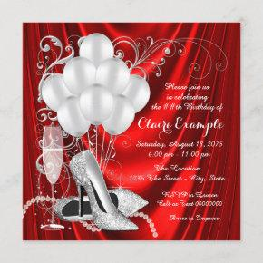 Womans Red and Silver Birthday Party Luxe Invitation