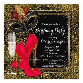 50 fabulous red gold black birthday party invitations candied clouds