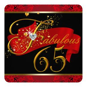Womans Red Fabulous 65th Birthday Party Invitations