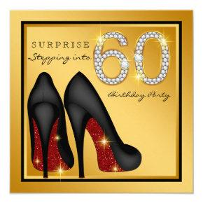 Womans Surprise 60th Birthday Party Invitations