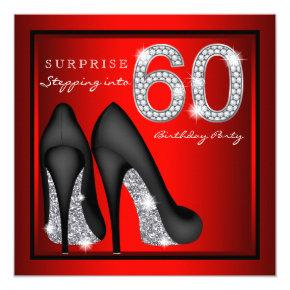 Womans Surprise 60th Birthday Party Red and Silver Invitations