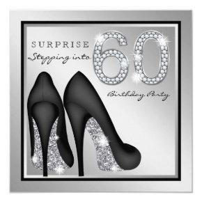 Womans Surprise 60th Birthday Party Silver Invitation
