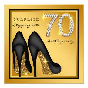 Womans Surprise 70th Birthday Party Invitations