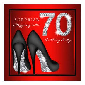 Womans Surprise 70th Birthday Party Red and Silver Invitations