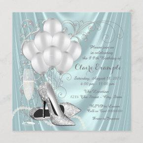 Womans Teal Blue and Silver Birthday Party Luxe Invitation