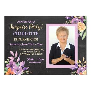 Women's Birthday Party Photo Flowers Chalk Invite