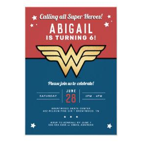 Wonder Woman Golden Logo Birthday Invitation