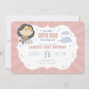 Wonder Woman | Super Hero First Birthday Invitatio Invitation