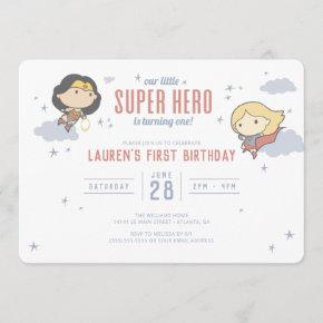 Wonder Woman & Supergirl | Super Hero Birthday Invitation