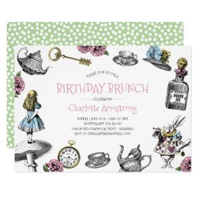 Wonderland Pink and Green Birthday Brunch Invitation