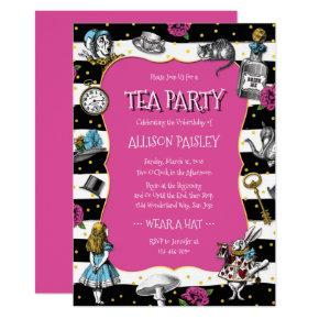 Wonderland Tea Party Hot Pink Invitations