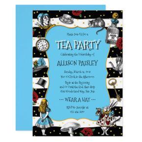 Wonderland Tea Party Whimsical Blue Invitation
