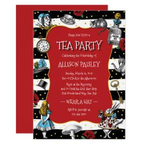 Wonderland Tea Party Whimsical Red Invitations