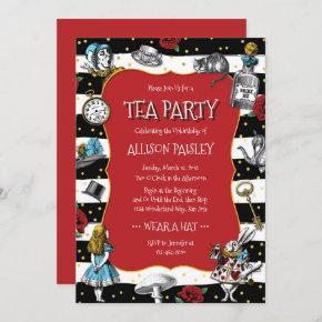Wonderland Tea Party Whimsical Red Invitation
