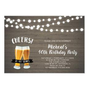 Wood Cheers, Beer 40th/50th Birthday Party Invitations
