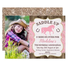 Wood Paisley Glitter Horse Birthday Invitations