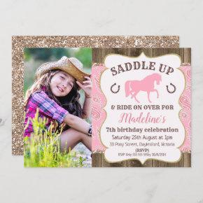 Wood Paisley Glitter Horse Birthday Invitation