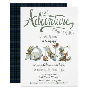 Woodland Adventure First Birthday Invitation