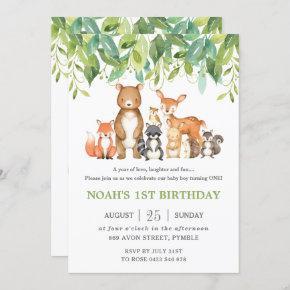 Woodland Animals 1st Birthday Forest Greenery Boy Invitation
