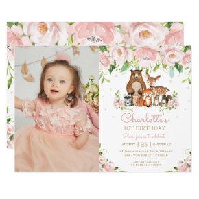 Woodland Animals Blush Floral 1st Birthday Photo Invitation