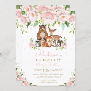 Woodland Animals Blush Pink Floral 1st Birthday Invitation
