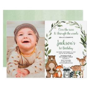 Woodland animals boy girl first 1st birthday photo invitation
