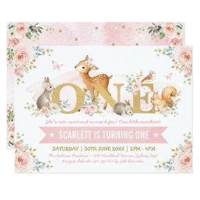 Woodland Animals Pink Gold Floral 1st Birthday Invitation