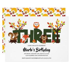 Woodland Animal's Third Birthday Party Invitation