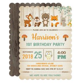 Woodland Birthday Invitation Forest Animal Party