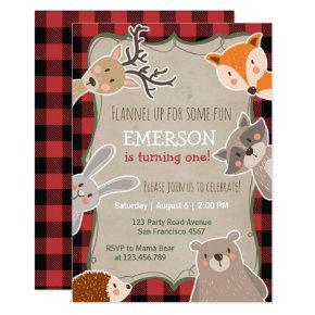 Woodland Birthday Invitation Lumberjack Fox Bear