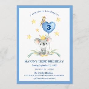 Woodland Bush Baby Koala kids Birthday Invitation